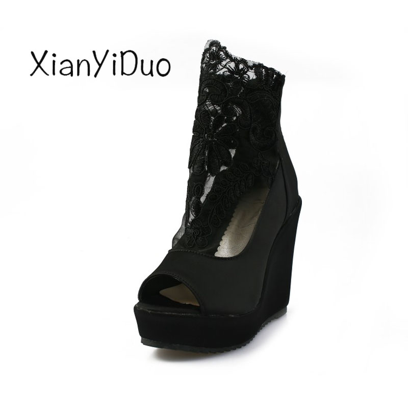 Xianyiduo Adult Sandals Wedges Platform Women's Shoes Plus-Size Summer Lace Big Embroider