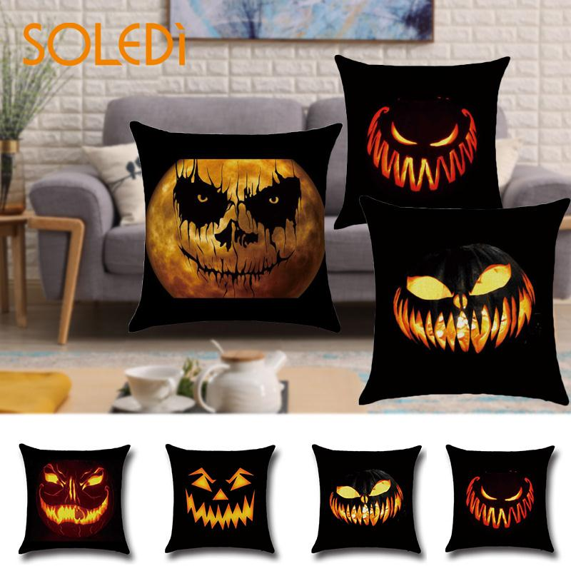 Halloween Pillow Cushion Cases Pumpkin Printed Halloween Home Creative