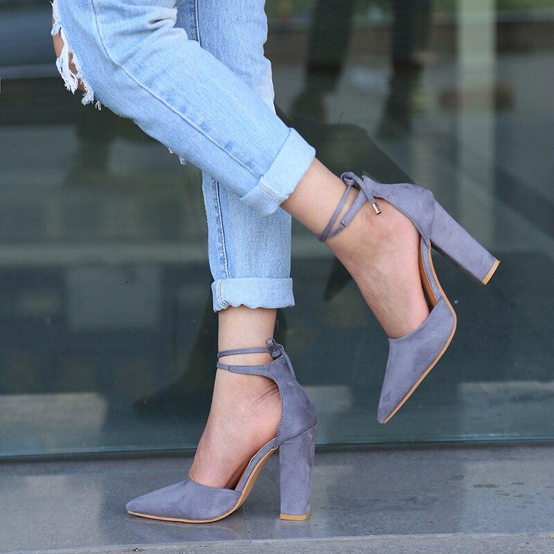 2018 tacones altos sandalias de las mujeres primavera otoño Flock zapatos mujer bombas Sexy Thin talones de aire calzado mujeres zapatos lace Up