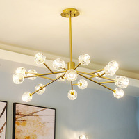 excessive Nordic contemporary and contracted, crystal chandelier LED restaurant villa hotel golden lamps and lanterns