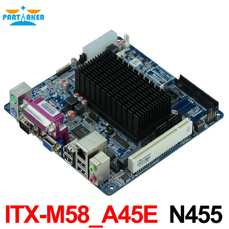 все цены на  Cheap industrial embedded MINI ITX motherboard ITX_M58_A45E Intel N455 cpu support WIFI/3G moudle with 8*USB/2*COM/1*VGA  онлайн