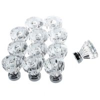 12x Clear Crystal Glass Door Knobs Drawer Cabinet Furniture Pull Handles