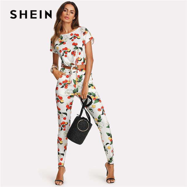 02e23694e0b564 SHEIN Botanical Print Knot Front Roll Up Sleeve Top And Pants Set 2018  Women Round Neck Short Sleeve Pocket Casual 2 Pieces Sets