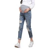 6cf6f54ca Hole Jeans For Pregnant Women Nursing Pants Maternity Clothes Elastic Waist  Denim Pregnancy Jeans Maternity Trousers. Pantalones vaqueros de agujero ...
