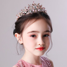 Childrens crown headdress princess girl crystal pink headband catwalk show birthday performance hair accessories