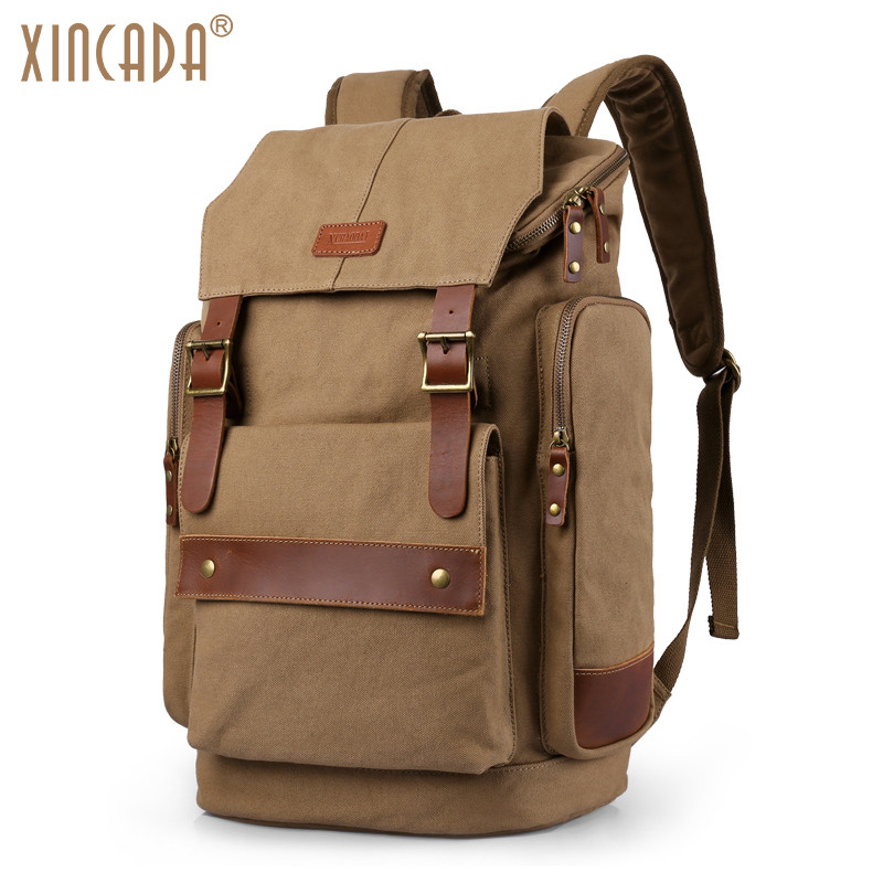 XINCADA Men's Canvas Travel Backpack Large Capacity 15.6 Inch Laptop Backpack Huge Rucksack Casual School Bag for College