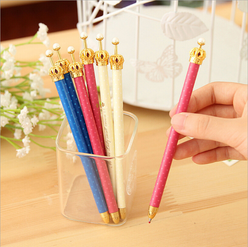 5 pcs/lot Hot Sale High Quality 0.5mm Blue Ink Gel Ballpoint Pen Lovely Crown Smooth Retractable Sign Pen School&Office Supplies