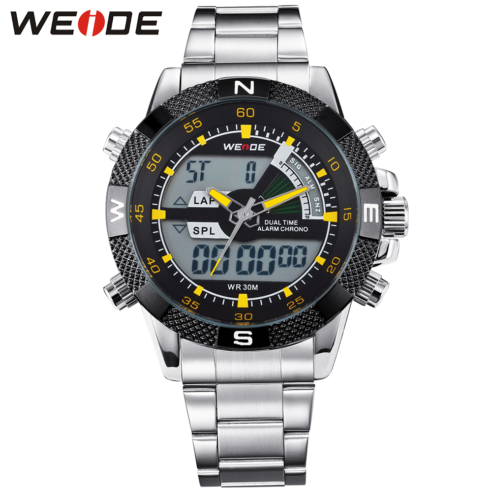 ФОТО WEIDE Popular Brand Silver Stainless Steel Watch Men Analog Digital Display Quartz Movement Sports Army Military Wrist Watches