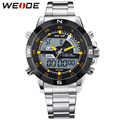 WEIDE Popular Brand Silver Stainless Steel Watch Men Analog Digital Display Quartz Movement Sports Army Military Wrist Watches