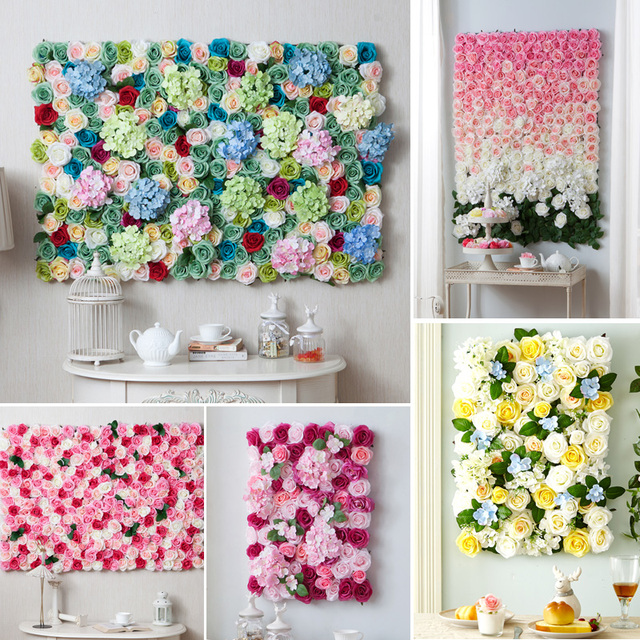 Custom Wedding Theme Artificial Silk Rose For Wedding Background Flower  Wall Decoration Party/Home /