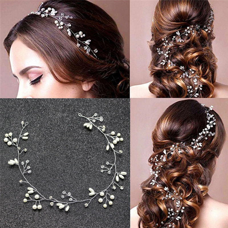 1pcs Fashion Vintage Pearls  Leaves Sweet Wedding Bridal Headband Bride Headpieces Bridesmaid Hair Headdress
