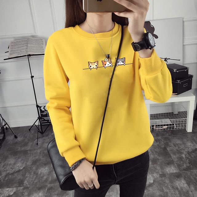 Women Hoodie Cat Warm Fleece Korean Sweatshirt