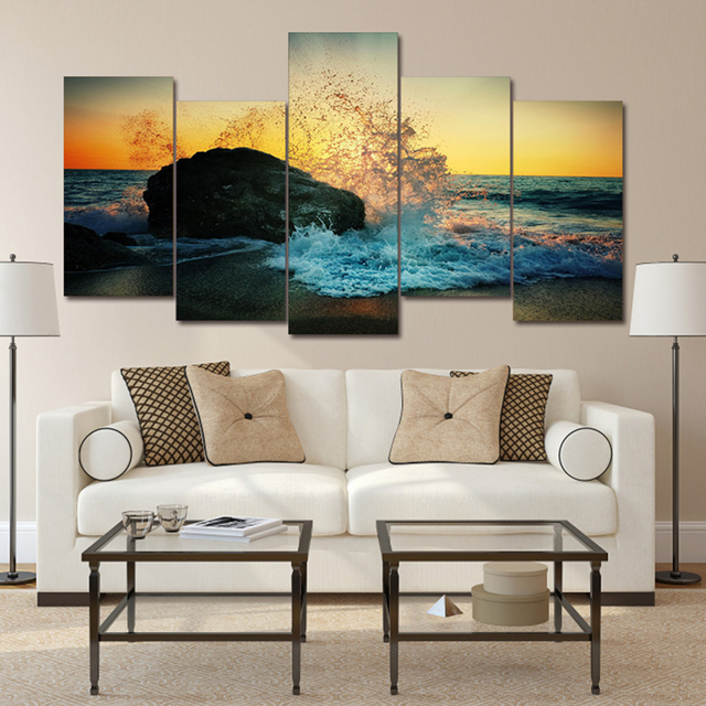 Canvas Printed Modern Painting Wall Art Poster 5 Panel Seascape Surf Sand  Beach Frame Pictures Home