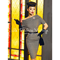 Le Palais Vintage elegant retro bat sleeve Strapless self-cultivation swallow gird woolen dress