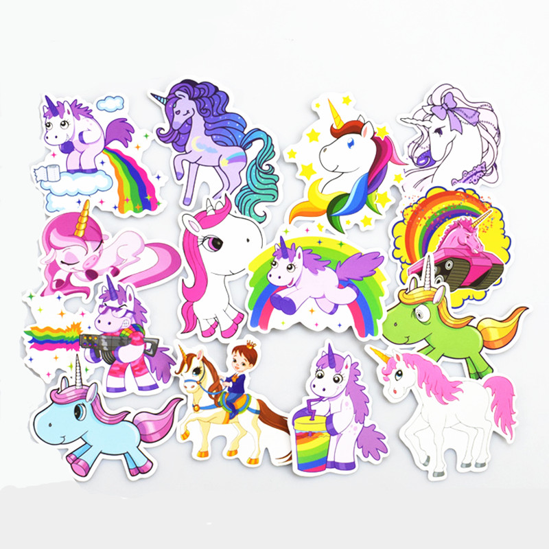 30pcs <font><b>Unicornio</b></font> Stickers Unicorn Birthday Party Decorations Kids DIY <font><b>Notebook</b></font> Suitcase Baby Shower Gift DIY Decoration Supplies image