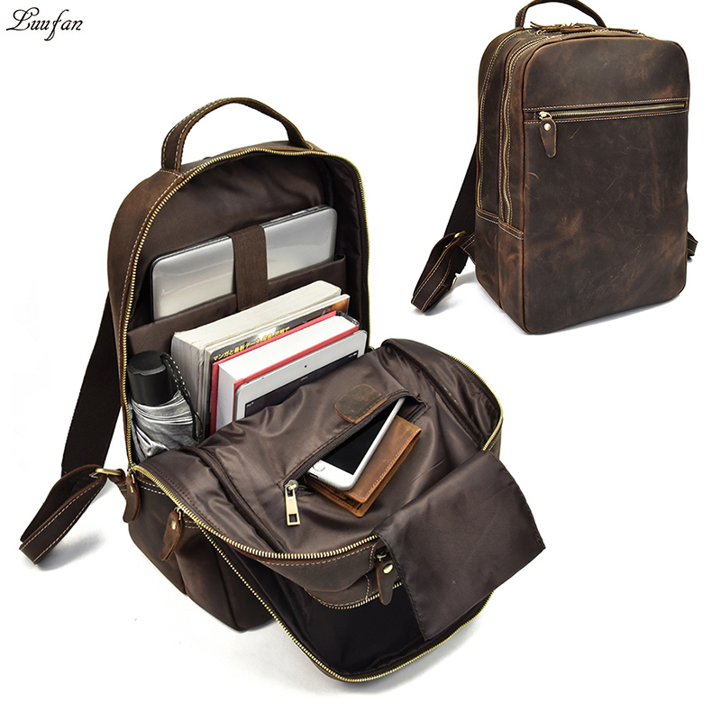 Multifunction Crazy Horse Genuine Leather Backpack For Teenager 15inch Laptop Rucksack Vintage Daypack school bag Big