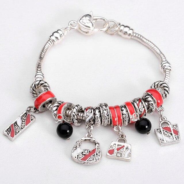 Whole Lovely Handbag Ball Beads Lock Lucky Charms European Style Handmade 925 Sterling Silver Bracelets For