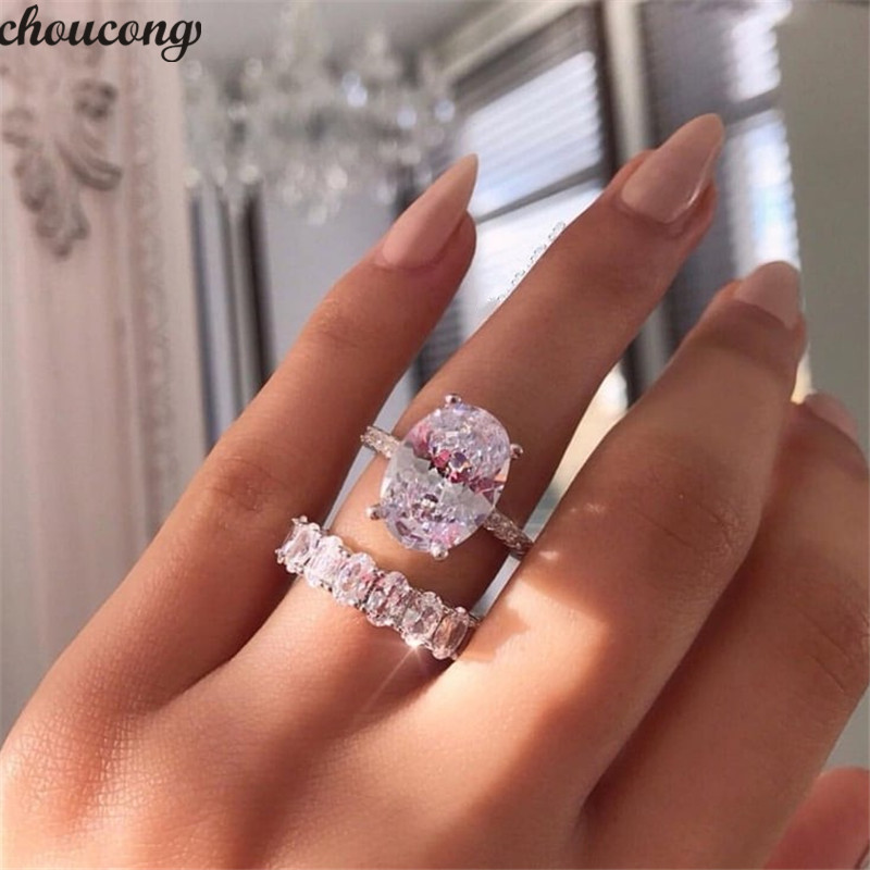 Choucong Promise Ring set Oval cut 5A Zircon Pedra 925 Sterling Silver Engagement Wedding Band Jóias Anéis de Dedo para as mulheres