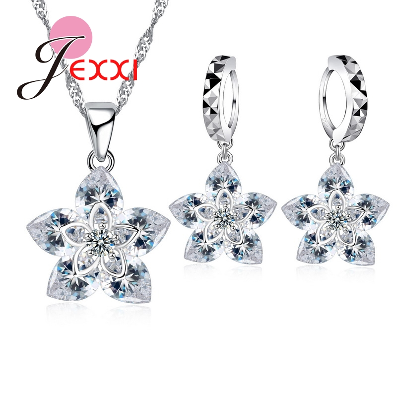 Jemmin 925 Sterling Silver Austrian Crystal Female Jewelry Sets Fashion Flower Design Shiny Necklace and Earring Set for WomenJemmin 925 Sterling Silver Austrian Crystal Female Jewelry Sets Fashion Flower Design Shiny Necklace and Earring Set for Women
