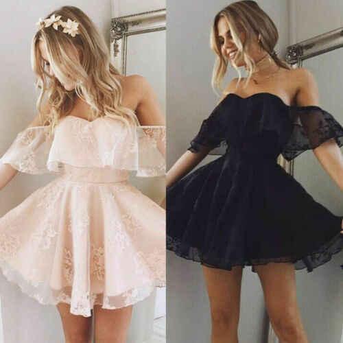 חדש יופי נשים off-כתף סטרפלס תחרה קצר שמלה לנשף מסיבת שושבינה חתונת 2019 מעצב שיפון החוף
