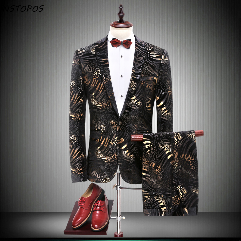 Mens Prom Suits Gold Black Tuxedo Colored Suits Mens Stage Wear Party Dresses Suit Slim Fit Men Flower Men Suits