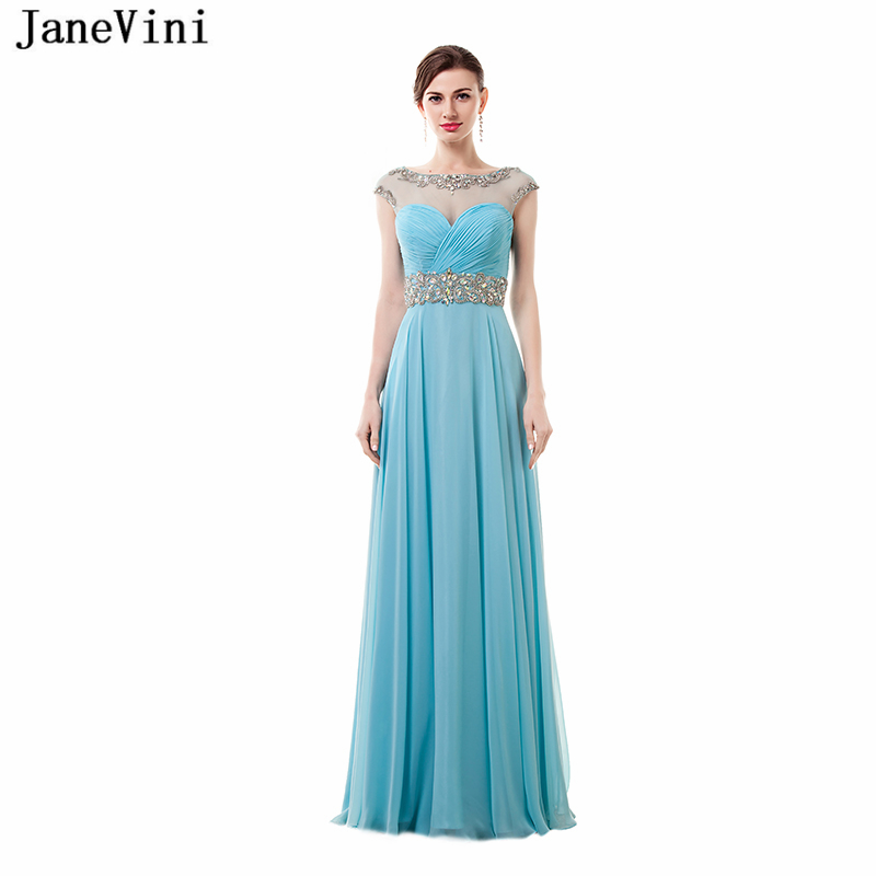 JaneVini 2018 Elegant Scoop Neck A Line Long   Bridesmaid     Dresses   Crystal Beads Backless Floor Length Chiffon Prom Gowns Plus Size