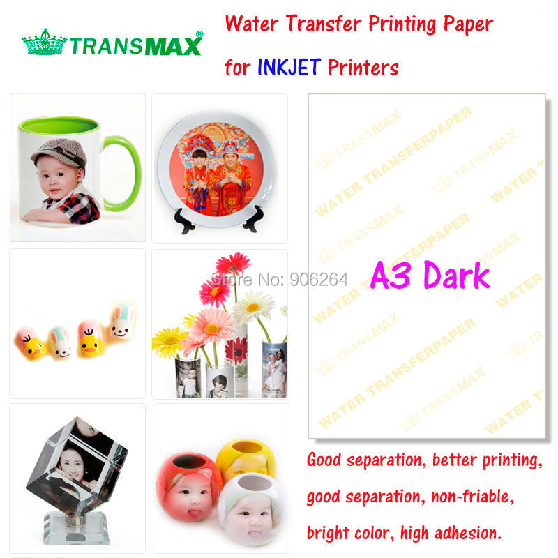 20 Sheets Dark Colorful Products A3 Inkjet Printer Water Transfer Paper Used on Stone,Body,Glasses,Cup,Flowers