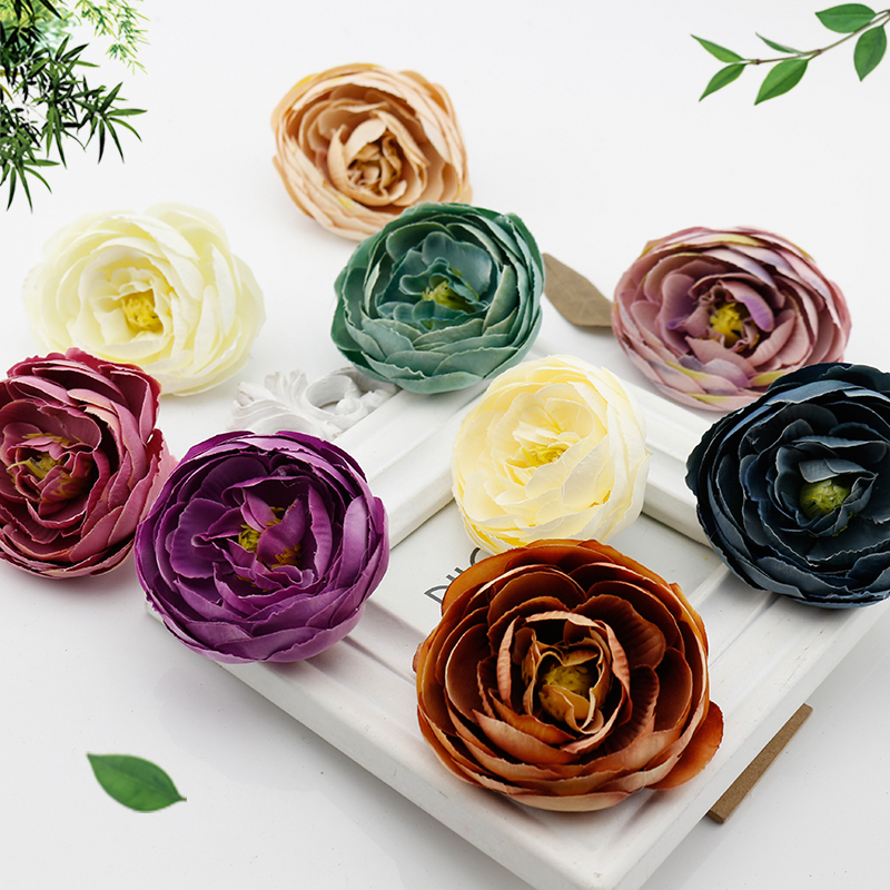 1 pcs Silk Peony Fake flower Handmade Artificial Flowers Heads for Wedding Gift box  scrapbooking Craft Decoration DIY Wreath