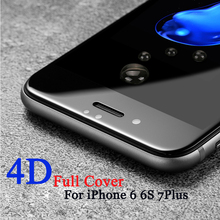 GerTong 4D Full Cover Screen Protector Glass For iPhone 8 Plus 6 6S 7 Plus X Ultra Thin Tempered Glass Toughened Film Over 3D