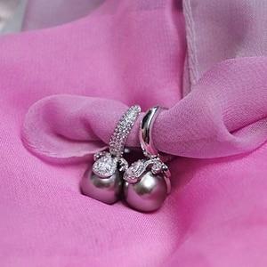 Image 3 - DreamCarnival1989 חדש יוקרה סינטטי גריי פרל עגילים לנשים אופנה חישוק סגנון מעוקב Zirconia תכשיטים סיטונאי WE3720