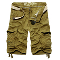 2017 Summer Multi Pocket Male Fashion Cargo Shorts Knee Length Loose Leisure Short Pants 4 Color Men's  Beach Overalls