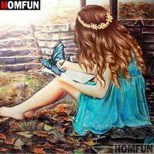 HOMFUN Full SquareRound Drill 5D DIY Diamond Painting Beauty oil painting 3D Embroidery Cross Stitch 5D Decor Gift A18276