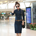 S  XL XXL Female/Ladies Casual Denim Dress Plus Size Vintage Jeans Dresses Long Sleeve Blue New 2016 Fashion Women Spring Autumn