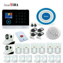 SmartYIBA wireless wifi gsm alarm system TFT display door sensor home security alarm systems Wired Siren with HD IP camera