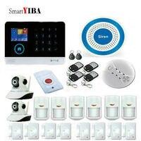 Smartyiba Беспроводной Wi Fi GSM сигнализация tft дисплей датчик двери Главная безопасности сигнализация проводной сирены с HD IP камеры
