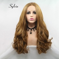 Sylvia Synthetic Lace Front Brown Wigs Long Body Wave Hair Middle Parting For Women Heat Resistant Fiber Wigs Cosplay Soft Lace