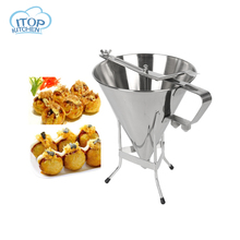 ITOP Stainless Steel Octopus Funnel Oil Funnel Takoyaki Octopus Ball Tool Baking Tool Fast Delivery High Quality jiqi octopus balls filler takoyaki stainless steel filling funnel manual waffle batter separator chocolate cream baked hopper