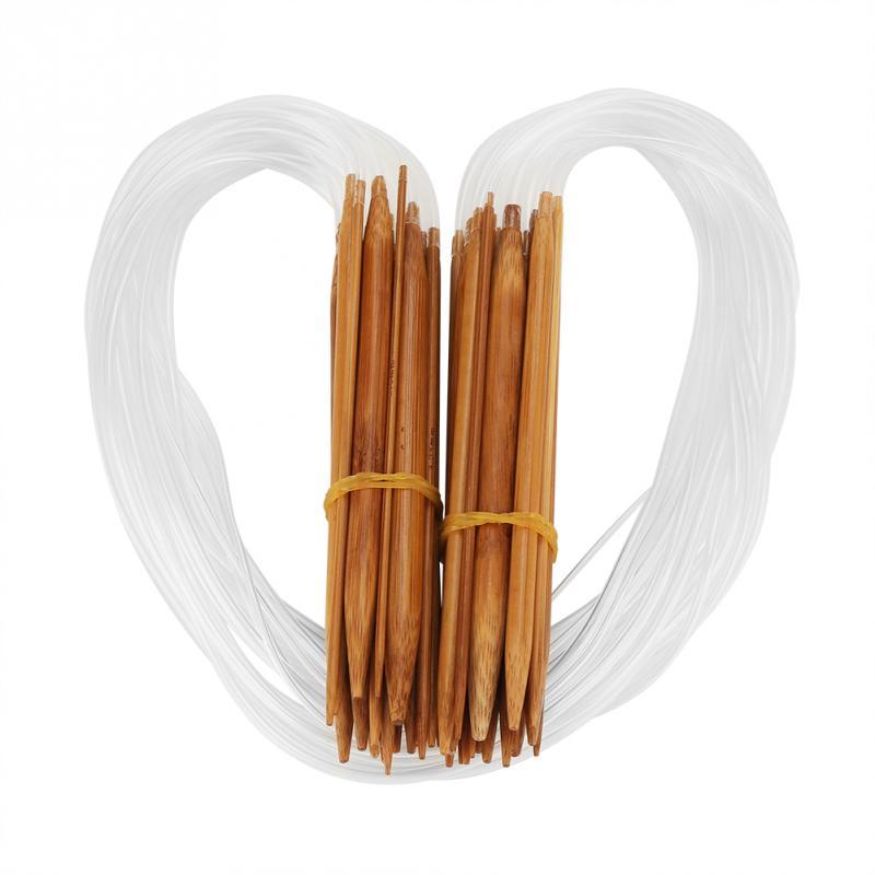 18 шт. легкий двойной точки Bamboo Вязание иглы 0,2-1 см размеры с прозрачной трубкой инструмент аксессуар