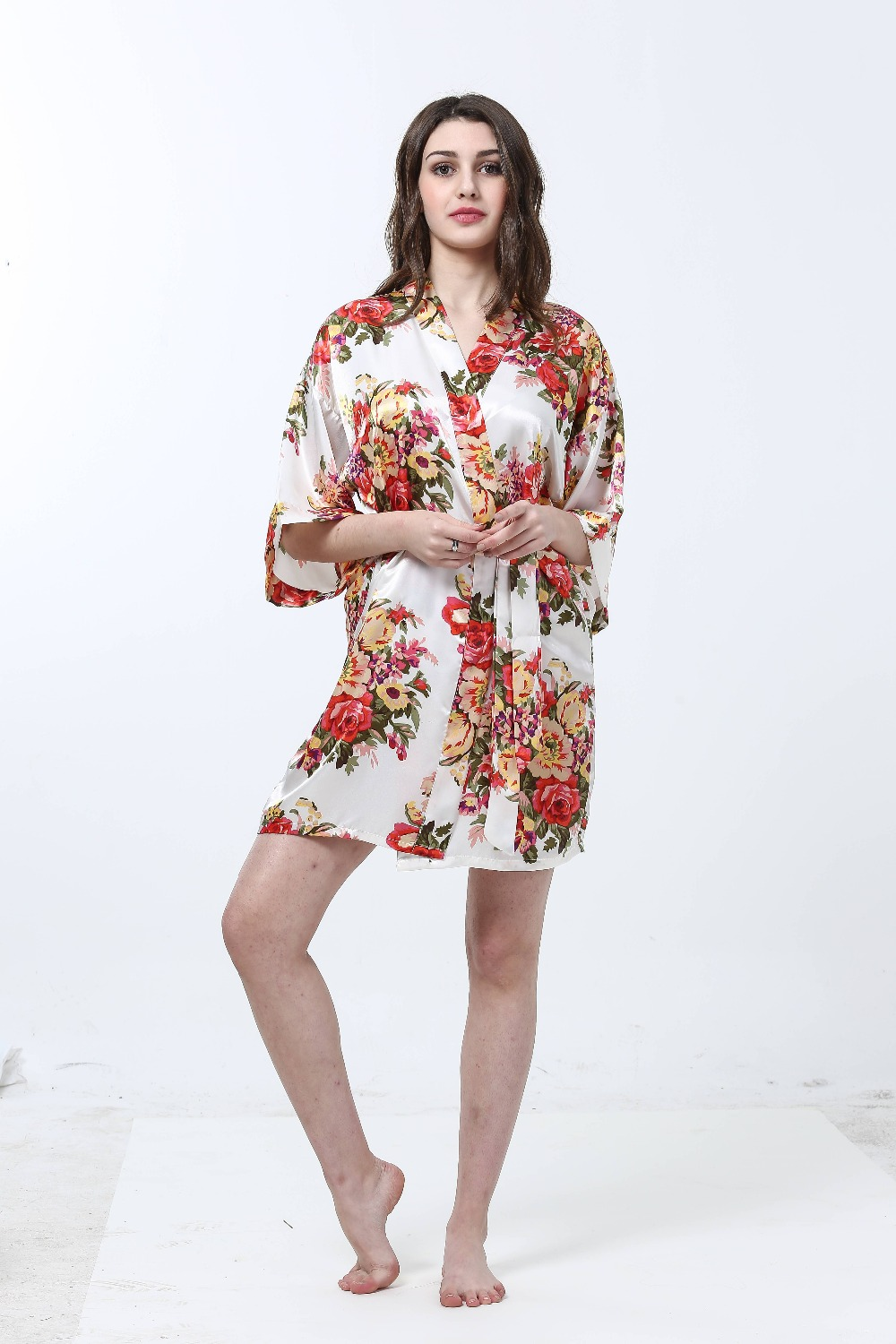 Women Floral Bathrobe Sexy Sleepwear Robe Night Bath Robe Soft Nightgown Fashion Dressing Gown Wedding Bride Bridesmaid Robe