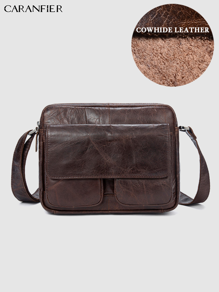 CARANFIER Mens Briefcases Bags Large Capacity Genuine Cowhide Leather Male Shoulder Messenger Bags Vintage Zipper Crossbody Bags