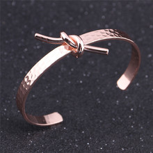 New Fashion Knotted Shape Open Adjustable Bangle Jewelry Rose Gold Color Copper Cuff Bracelet & Bangle For Women Rock Bijoux