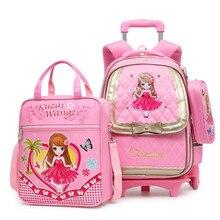 c5e35da7f2 Cute 3PCS sets Children 2 6 wheels Trolley school bag waterproof kid  Backpack high quality