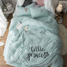 4Pcs Queen Twin size Kids Girls Cute Animal Bedding Set Soft Summer Bed sheet set Fit sheet Bed set Duvet cover Pillow shams