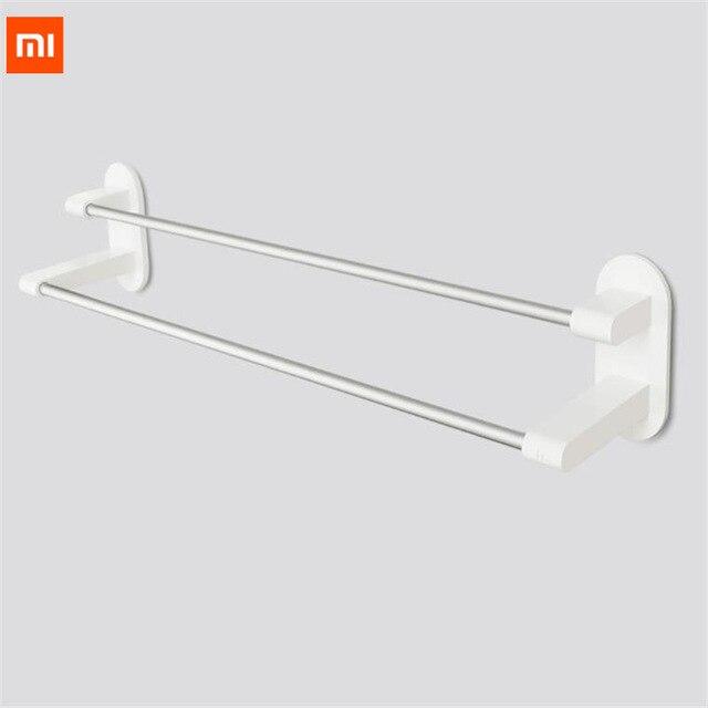 New XIAOMI Happy Life Towel Rack Holder 2 Bars Towel Hanging WHITE 3M Tape Double Rod Storage Bathroom Product Towel