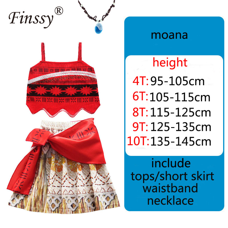 Ocean romance Moana New Summer Red Sling Beach Short Skirt Cosplay Costume Including Necklace Holiday Gift
