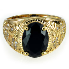 Men's Fashion Gold Ring with Black Stone