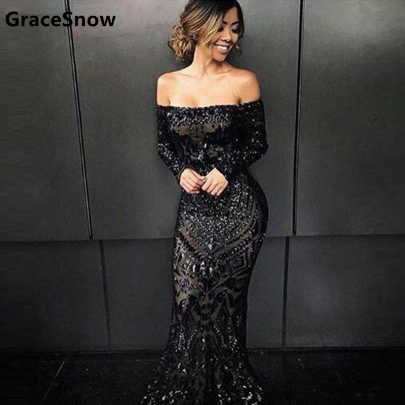 Sexy Vestidos Slash Neck Off Shoulder Sequined Party Floor Length Dress Full Sleeved Bodycon Black Maxi Dress Evening Black Gown silvercell women sexy off shoulder club dress fashion knitted elastic sweater slim bodycon dress vestidos