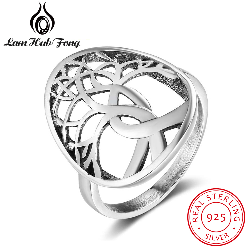 Tree of Life Design 925 Sterling Silver Rings for Women Female Finger Ring Size 6 7 8 Fine Jewelry Accessories (Lam Hub Fong)