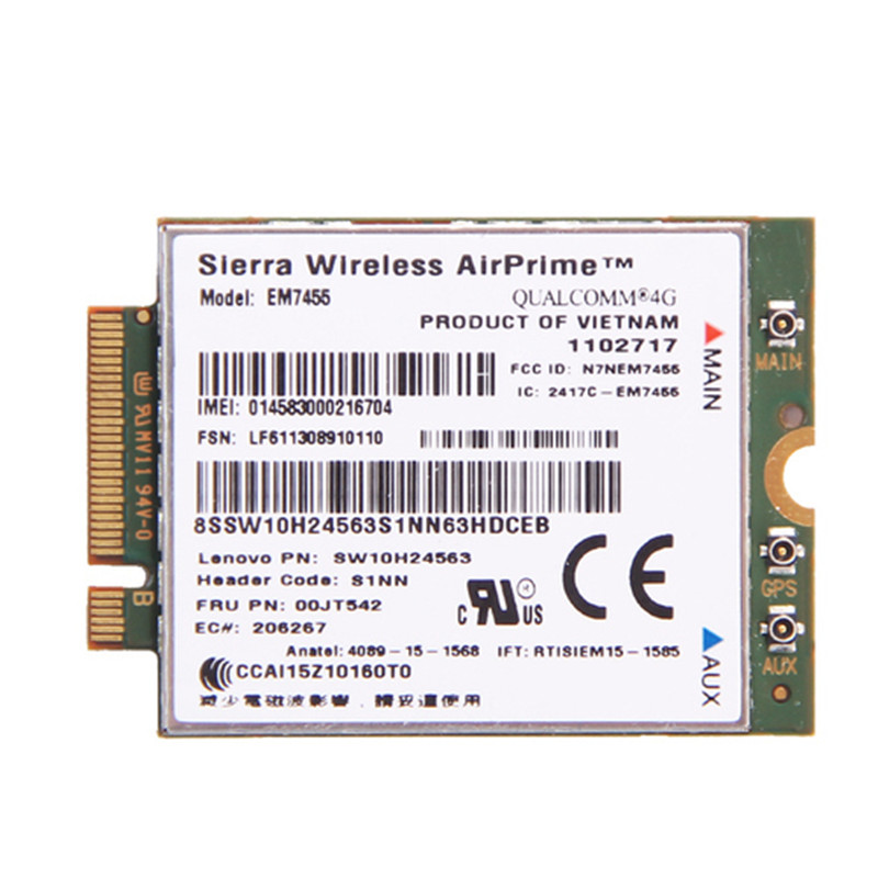 Sierra Wireless EM7455 4G LTE Gobi6000 Qualcomm Wireless LTE FDD WWAN IBM FRU:00JT542 for Lenovo T460 T460p L560 Yoga 260 P50 for hp sierra wireless airprime em7355 qualcomm 4g lte network card 704030 001 t20