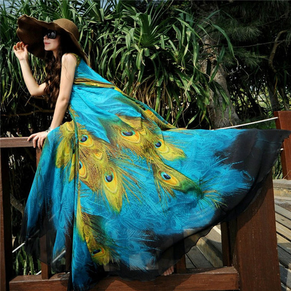 High Quality 2015 NEW Summer Womens Floral Peafowl Peacock Print Long Bohemia Dresses Beach Boho Maxi Sundress Plus Size